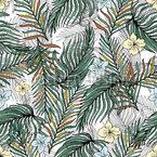 Tropische Palmblätter und Blüten Rapport