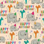 Alles Gute zum Geburtstag Elefanten Nahtloses Vektormuster