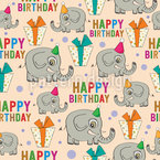 Happy Birthday Elephants Seamless Vector Pattern Design