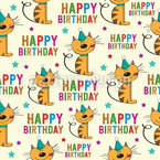 Happy Birthday Cats Seamless Vector Pattern Design