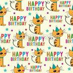 Happy Birthday Katzen  Nahtloses Vektormuster