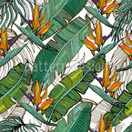 Tropic Banana Leaves Seamless Vector Pattern Design