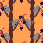 Koalas At The Sunset Seamless Vector Pattern