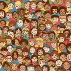 Crowd Of Children Seamless Vector Pattern Design