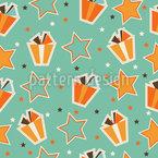 Sterne und Geschenkschachteln Nahtloses Vektormuster