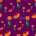 Butterflies in a Bed of Tulips Vector Pattern
