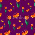 Schmetterlinge Im Tulpenbeet Vektor Muster