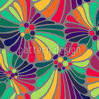 Rainbow Flowers Seamless Vector Pattern Design