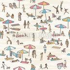 Kleine Menschen Am Strand Nahtloses Vektormuster