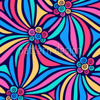 Curly Rainbow Flowers Seamless Vector Pattern Design