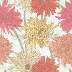Chrysanthemen Blüte Nahtloses Vektormuster