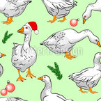 Geese at Christmas Seamless Vector Pattern Design