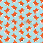 Cute Fox Seamless Vector Pattern