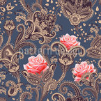 Paisley Roses Seamless Vector Pattern Design