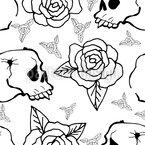 Rosen Und Totenköpfe Nahtloses Vektormuster