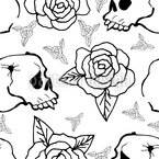 Roses And Skulls Repeat Pattern