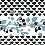 Block Print Berry Branches Seamless Vector Pattern Design