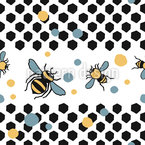 Honigwaben Und Bienen Nahtloses Vektormuster