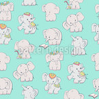 Happy Elephants Seamless Pattern