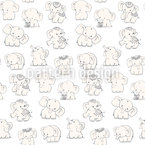 Playful Elephants Seamless Vector Pattern