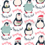 Winter Pinguine Nahtloses Vektormuster