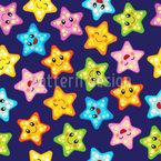 Estrela-do-mar feliz Design de padrão vetorial sem costura