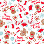 Christmas with Elks Seamless Vector Pattern Design