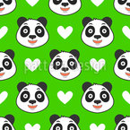 Chinese Panda And Hearts Seamless Vector Pattern Design