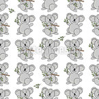 Happy Koala Seamless Pattern