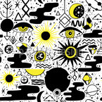 Abstrakte Sonnenfinsternis Nahtloses Vektormuster