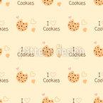 Eu amo biscoitos Design de padrão vetorial sem costura