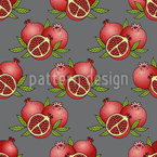 Juicy Pomegranate Seamless Vector Pattern Design