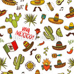 Viva Mexico Doodles Seamless Vector Pattern Design
