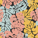 Monstera At Night Seamless Vector Pattern