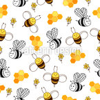 Cute Bees Seamless Vector Pattern Design