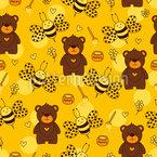 Bären und Bienen Rapportiertes Design