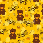 Bears And Bees Seamless Vector Pattern Design