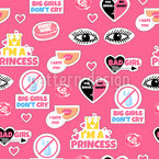Cool Stickers For Girls Seamless Vector Pattern Design