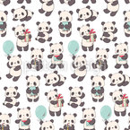 Pandas With Gifts Pattern Design
