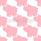 Cute Hippos Seamless Vector Pattern