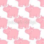 Niedliche Flusspferde Nahtloses Vektor Muster