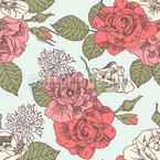 retro style roses Seamless Vector Pattern Design