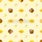 Eicheln Und Eichenblätter Nahtloses Vektor Muster
