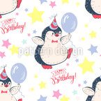 Penguins Birthday  Seamless Vector Pattern