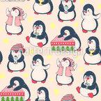 Weihnachts Pinguine Nahtloses Vektormuster