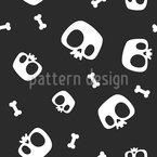 かわいい漫画のスケルトンの頭蓋骨と骨 シームレスなベクトルパターン設計