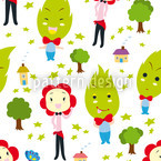Family Green Seamless Vector Pattern Design