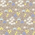 Opened Flower Meadow Repeating Pattern