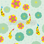 Fishes and Waterlilies Pattern Seamless Vector Pattern