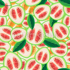 Slices And Leaves Seamless Vector Pattern Design